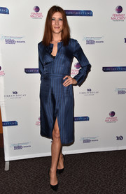 Kate Walsh was business-chic in a striped blue shirtdress at the Global Women's Rights Awards.