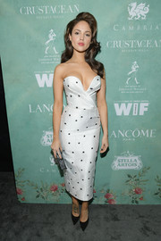 Eiza Gonzalez cut a shapely silhouette in a structured, strapless polka-dot dress by Rasario at the Women in Film pre-Oscar party.