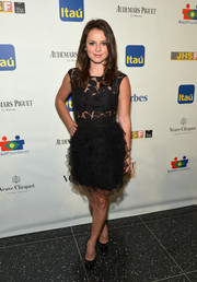 Sasha Cohen teamed black platform pumps with a frilly LBD for her Brazil Foundation Gala look.