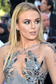 Tallia Storm wore her hair loose in pin-straight layers at the Cannes Film Festival screening of '120 Beats Per Minute.'