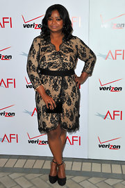 Octavia Spencer wore a nude lacy cocktail dress with a faux-wrap design for the AFI Awards.