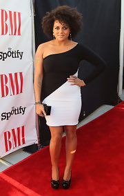Marsha Amrbosius wore a body-con black-and-white one-shoulder dress to the BMI Urban Awards.