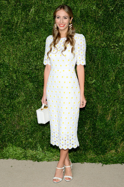 Harley Viera-Newton went the demure route in a white floral frock during the CFDA/Vogue Fashion Fund Awards.