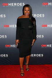 Uzo Aduba made a sultry choice with this body-con black off-the-shoulder dress by Brandon Maxwell for the 2018 CNN Heroes All-Star Tribute.