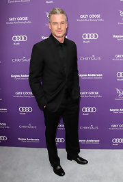 Eric Dane chose a classic black single-button suit and a black button down for his look at the 12th Annual Chrysalis Ball.