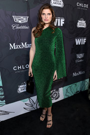 Lake Bell teamed her frock with the celeb-favorite Tamara Mellon Frontline sandals.