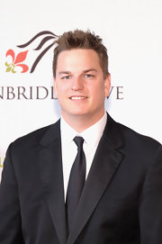 Joey Wagner's spiked hair was an edgy contrast to his elegant outfit at the Unbridled Eve Gala.