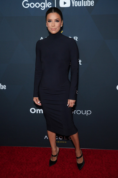 Eva Longoria went for minimalist elegance in a fitted black turtleneck dress by Greta Constantine at the 2019 ADCOLOR Awards.