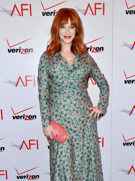 More Pics of Christina Hendricks Medium Wavy Cut with Bangs (4 of 9) - Christina Hendricks Lookbook - StyleBistro