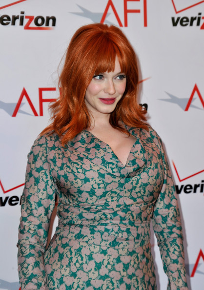 More Pics of Christina Hendricks Medium Wavy Cut with Bangs (3 of 9) - Shoulder Length Hairstyles Lookbook - StyleBistro
