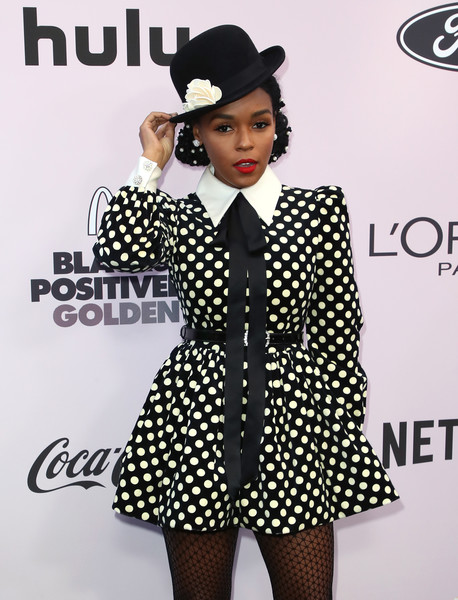 More Pics of Janelle Monae Platform Pumps (6 of 6) - Janelle Monae Lookbook - StyleBistro [clothing,polka dot,formal wear,pattern,fashion,design,outerwear,black-and-white,music,suit,janelle monae,beverly hills,california,beverly wilshire four seasons hotel,essence black women in hollywood awards luncheon,janelle mon\u00e1e,fashion,model,photograph,livingly media,image,getty images,essence,stock photography]