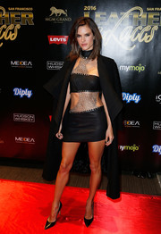 Alessandra Ambrosio got majorly vampy in a chain-embellished mini dress by Bryan Hearns for the Leather & Laces Mega Party.