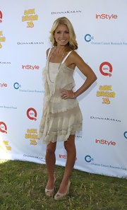 Kelly wore a sweet, sheer ruffled day dress with neutral wedges and soft waves.
