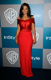 Sanaa Lathan looked stunning in an off-the-shoulder red evening gown at the Golden Globe after-party.