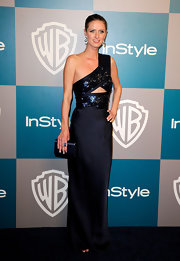 Nicky Hilton teamed her stunning midnight blue gown with a matching navy clue at the InStyle Golden Globes after party.