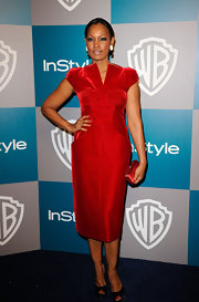 Garcelle Beauvais topped off her red dress with classic peep-toe pumps.