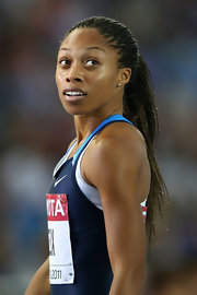 Allyson was ready to race in this long braided ponytail.