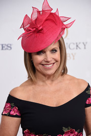 Katie Couric paired a pink hat with an off-the-shoulder floral dress for the Kentucky Derby.