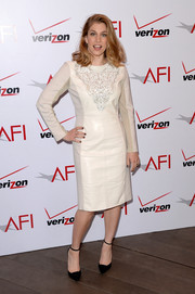 Anna Chlumsky put an elegant spin on leather with this light gray Rachel Roy number at the AFI Awards.