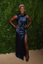 Cynthia Erivo chose a navy cowl-neck satin gown by CG for the CFDA/Vogue Fashion Fund Awards.