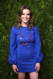 Gillian Jacobs looked dynamite in an electric-blue suede mini dress at the CFDA/Vogue Fashion Fund Awards.