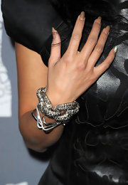 A chunky link bracelet added major sparkle to Jeannie Mai's look during the Costume Designers Guild Awards.