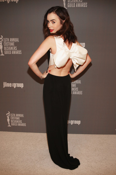 More Pics of Lily Collins Evening Dress (1 of 8) - Lily Collins Lookbook - StyleBistro