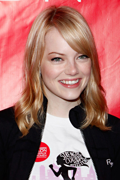 More Pics of Emma Stone Long Straight Cut with Bangs (1 of 26) - Emma Stone Lookbook - StyleBistro