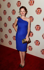 Sarah Drew attended the Entertainment Tonight Emmy Party in a gorgeous blue one-shoulder dress.