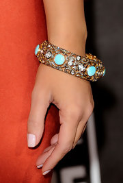 Kim Kardashian wore a decadent rose cut diamond bracelet with turquoise stones to the Critics Choice Awards.