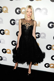 Jaime King was fun and flirty in a black full-skirted frock at the GQ event in LA. She paired her look with black peep-toe slingbacks.