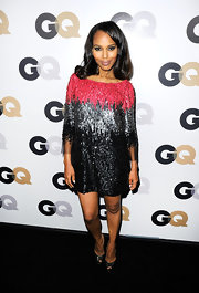 Kerry Washington topped off her sparkling dress with black patent leather peep-toe pumps.