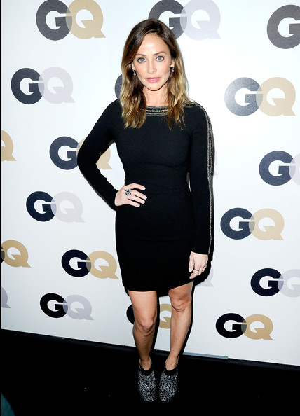 Natalie Imbruglia looked simply chic at the GQ Men of the Year party in a black sweater dress with a shoulder accent.