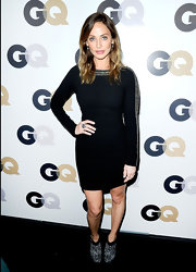 Natalie was ultra chic in an embroidered LBD at the GQ Men of the Year celebrations in LA. She topped off her look with silver leopard-print booties.