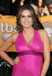 Mariska showed off her haltered pink dress which paired perfectly with her diamond and pink spinel pendant earrings, in 18 karat gold.