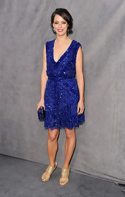Berenice topped off her sparkling Elie Saab cocktail dress with metallic sandals.