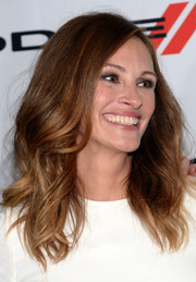 Julia Roberts wore her hair down with a side part and billowy waves during the Hollywood Film Awards.