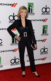 Jane Fonda rocked a tux-inspired black jumpsuit by Reem Acra at the Hollywood Film Awards.