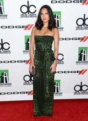 Olivia Munn was a glamazon in a strapless green leopard-print gown by Dolce & Gabbana during the Hollywood Film Awards.