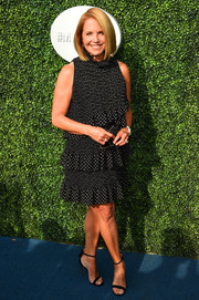 Katie Couric completed her look with black ankle-strap sandals.