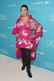 Ane Crabtree caught eyes in a short, color-block kimono during the Costume Designers Guild Awards.