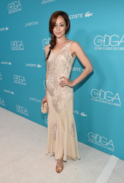 Autumn Reeser was '20s-glam in a floral-detailed ivory dress during the Costume Designers Guild Awards.