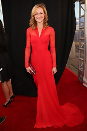 Kerry looked retro-glam in this red trained gown with a gathered bodice and sheer sleeves. Marilyn would approve.