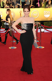 Tina Fey wore a black strapless dress with a metallic bust to the SAG Awards.