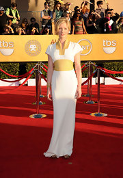 Gretchen Mol wore an Eastern inspired dress with yellow accents to the SAG Awards.