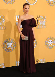 Natalie Portman wore a strapless maroon gown to the SAG Awards.