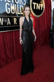 Angelina Jolie dripped of elegance at the SAG Awards in this metallic black gown.