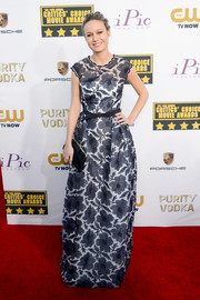 Brie Larson looked enchanting in a floral-embroidered gown by Escada during the Critics' Choice Awards.