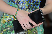 Cate Blanchett's green gemstone bracelet matched her green dress really well.