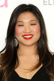 Jenna Ushkowitz vamped up her flawless look with satin red lipstick.